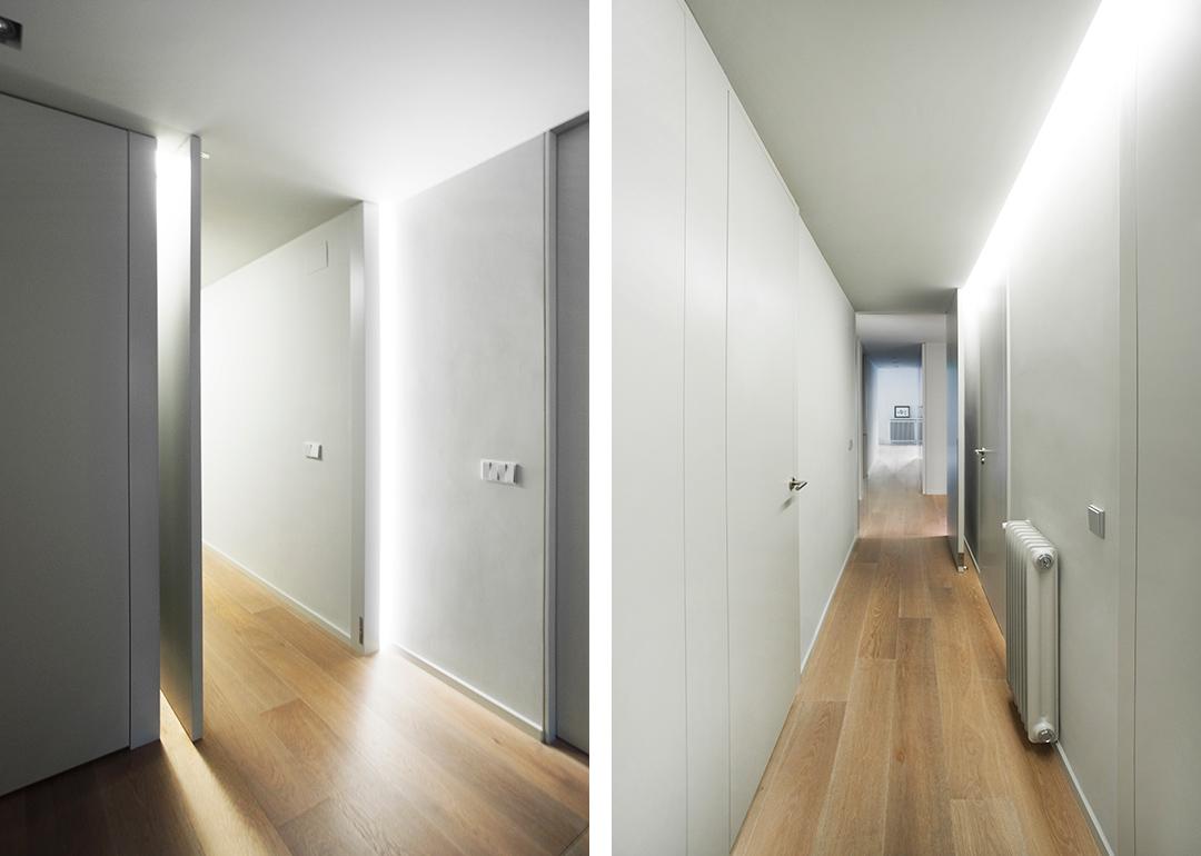 Cristina Prats Arquitectura Interiorismo Casa en Barcelona Luz rasante Puerta pivotante